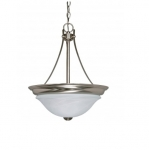 60W 15.5 in. Triumph Convertible Pendant, Alabaster Glass, Brushed Nickel