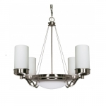 "Polaris 29"" Chandelier Light, Frosted Glass Shades"