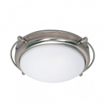 """Polaris 14""""  Flush Mount Light, Frosted Glass Shades"""