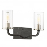 Sherwood 2-Light Vanity Light Fixture, Iron Black w/ Brushed Nickel Accents
