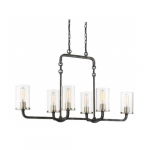 Sherwood 6-Light Island Pendant Light Fixture, Iron Black