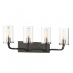 Sherwood 4-Light Vanity Light Fixture, Iron Black w/ Brushed Nickel Accents