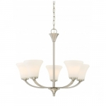 Fawn Chandelier Light Fixture, Brushed Nickel Finish, 5 Lights