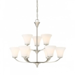 Fawn Chandelier Light Fixture, Brushed Nickel Finish, 9 Lights