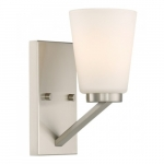 Nome Vanity Light Fixture, Brushed Nickel, Frosted Glass
