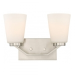 Nome 2-Light Vanity Light Fixture, Brushed Nickel, Frosted Glass