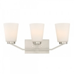 Nome 3-Light Vanity Light Fixture, Brushed Nickel, Frosted Glass