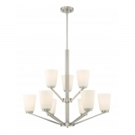 Nome 9-Light Chandelier Light Fixture, Brushed Nickel, Frosted Glass