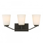 Nome 3-Light Vanity Light Fixture, Mahogany Bronze, Frosted Glass