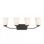 Nome 4-Light Vanity Light Fixture, Mahogany Bronze, Frosted Glass