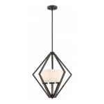 Nome 3-Light Pendant Light Fixture, Mahogany Bronze, Frosted Glass