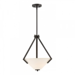 Nome 2-Light Pendant Light Fixture, Mahogany Bronze, Frosted Glass