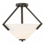 Nome 2-Light Semi-Flush Light fixture, Mahogany Bronze, Frosted Glass