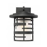 "Lansing 12"" Lantern Light Fixture, Textured Black, Etched Glass"