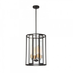 4-Light Payne Foyer Pendant Light, Midnight Bronze, Clear Beveled Glass