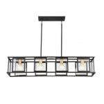 4-Light Payne Island Pendant Fixture, Midnight Bronze, Clear Beveled Glass