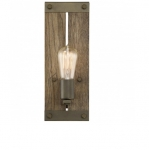 60W Winchester Wall Sconce, Aged Wood, 1-Light, Bronze