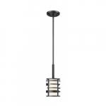 Lansing Mini Pendant Light Fixture, Textured Black, Etched Glass