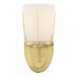 Serene Wall Sconce Light Fixture, Natural Brass, Satin White Glass