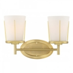 2-Light Serene Vanity Light Fixture, Natural Brass, Satin White Glass