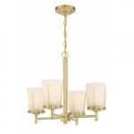 4-Light Serene Chandelier Light Fixture, Natural Brass, Satin White Glass