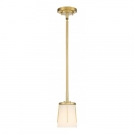 Serene Mini Pendant Light Fixture, Natural Brass, Satin White Glass
