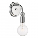 Bounce Wall Sconce Light Fixture, Polished Nickel w/ K9 Crystal