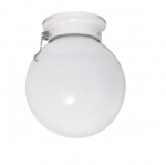 6in Ceiling Light Fixture, Ball with Pull Chain, Brushed Nickel
