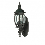 100W 20 in. Central Park Wall Lantern, Clear Beveled Panels, Textured Black