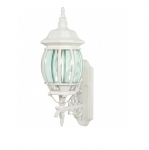 60W 22.75 in. Central Park Wall Lantern, Clear Beveled Panels, White