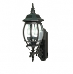60W 22.75 in. Central Park Wall Lantern, Clear Beveled Panels, Textured Black