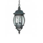 60W 20 in. Central Park Hanging Lantern, Clear Beveled Panels, Textured Black