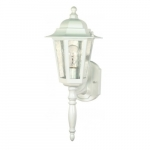 "Cornerstone, 18"" Wall Lantern Light, Clear Seeded Glass, White Finish"