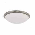 """17"""" Button LED Flush Mount Fixture, Brush Nickel Finish, 25W Lamp Included"""