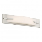 "Bow LED 19"" Vanity Light Fixture, Brushed Nickel, Frosted Acrylic"