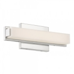 "Slick LED 13"" Vanity Light Fixture, Polished Nickel, Frosted Acrylic"