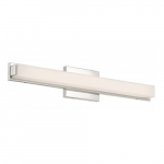 "Slick LED 25"" Vanity Light Fixture, Polished Nickel, Frosted Acrylic"