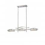 30W Wave Island Pendant, 3 Module, Brushed Nickel, 3000K