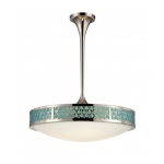 LED Raindrop Island Pendant Light Fixture, Polished Nickel, White Glass
