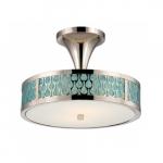 LED Raindrop Semi-Flush Mount, Polished Nickel, White Glass w/ Insert