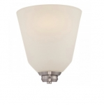 9.8W Calvin Wall Sconce Light, Satin White, 1-Light, Brushed Nickel