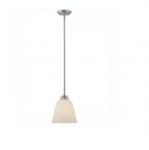 10.5W Calvin Mini Pendant Light, Satin White, 1-Light, Brushed Nickel