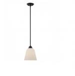 10.5W Calvin Mini Pendant Light, Satin White, 1-Light, Mahogany Bronze