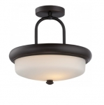 19.6W Dylan Semi-Flush Light, Etched Opal, Mahogany Bronze