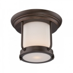 9.8W Bethany LED Outdoor Flush Light Fixture, Satin White Glass