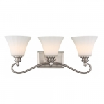 3-Light LED Tess Vanity Fixture, Brushed Nickel, Frosted Fluted Glass