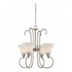 4-Light LED Tess Chandelier Fixture, Brushed Nickel, Frosted Fluted Glass