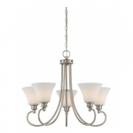 5-Light LED Tess Chandelier Fixture, Brushed Nickel, Frosted Fluted Glass