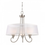 LED Tess Pendant Light Fixture, Brushed Nickel, Frosted Fluted Glass