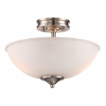 LED Tess Semi-Flush Mount Fixture, Brushed Nickel, Frosted Fluted Glass